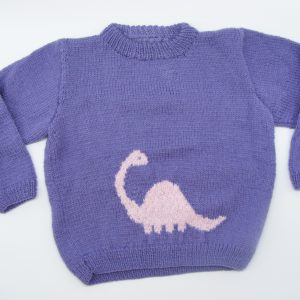 Pull violet avec un dinosaure