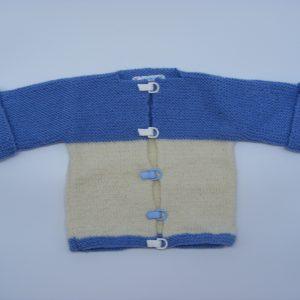 Veste de couleur bleue et blanche